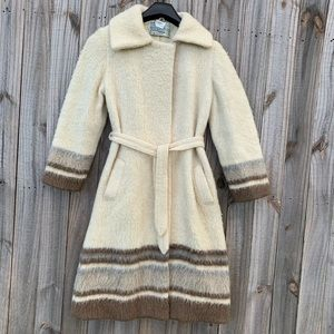 Vintage 60s 70s Eider Knit Wool Trench Coat M